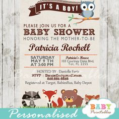 Printable Woodland Themed Baby Shower Invitation. This personalized invite card features adorable forest baby critters: owl, fox, raccoon, bear and squirrel. This invitation featuring woodland animals is perfect for a boy, girl or a gender neutral baby shower. #babyprintables