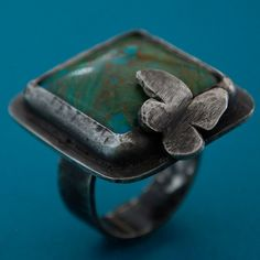 Turquoise Ring adorned with butterfly in Sterling by kathryncole