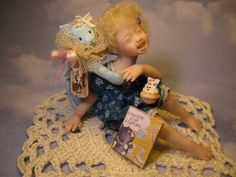 OOAK Miniature Girl Doll  ~ If You Give A Cat A Cupcake ~ 1 Day-List