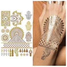 Tattify Metallic Hamsa And Indian Handpiece Temporary Tattoo  Indian Princess Sheet 2 Set of 1 sheet  Other Styles Available and Fashionable Temporary Tattoos -- Read more reviews of the product by visiting the link on the image.