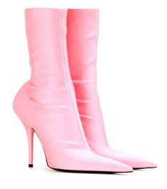 BALENCIAGA - Knife ankle boots - Balenciaga's Knife ankle boots were featured in the label's Spring/Summer '17 runway show. The streamlined style has been crafted in Italy from stretch-jersey fabric inspired by '80s sportswear, while the playfully seductive silhouette is a reference to the universe of fetishism. Let the pastel-rose hue pop against an all-black look. - @ www.mytheresa.com