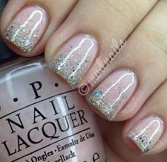 Pink nails with glitter | See more at http://www.nailsss.com/colorful-nail-designs/2/