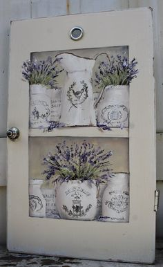 Painted on an Old rescued door http://www.gailmccormack.com/item_1949/Original-Painting-on-a-rescued-cupboard-door--French-Containers-of-Lavender--Postage-is-included-Australia-wide.htm
