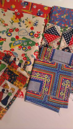 Vintage Fabric Primary Colors Lot 60s 70s Calico Children Destash