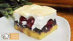 Meggyes-mákos habos szelet recept elkészítése videóval. A recept elkészítését, részletes menetét leírás is segíti. Elkészítési ideje: 1óra 15perc Cheesecake, Pudding, Desserts, Food, Tailgate Desserts, Deserts, Cheesecakes, Custard Pudding, Essen