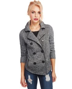 """<p>The always-classic peacoat is a must-have in every girl's closet! This peacoat features a knit melange body, a super soft fleece lining, a double-breasted button-up placket, oversized buttons, two front pockets, a buttoned tab detail in the back, and contrast trim. A detachable hood with snap attachments adds versatility to this stylish jacket.</p>  <p>Model is 5'9"""" and wears a size small.</p>  <ul> <li>80% Polyester / 20% Cotton</li> <li>Machine ..."""