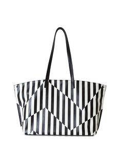 Ai Striped Leather Top-Handle Bag, Black/White