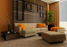 wandfarbe fürs wohnzimmer - orange - Wohnzimmer streichen – 106 inspirierende Ideen