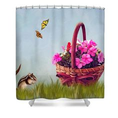 Basket Of Pink Impatient Flowers Shower Curtain featuring the photograph Spring Flowers For You by Mary Timman