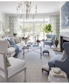 Soft blue and white living room.