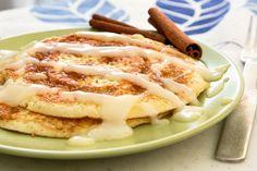 Cinnamon pancakes with cream cheese glaze
