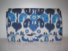 Ikat Blue Navy Cream Cotton Clutch by JetSetCoco on Etsy, $75.00