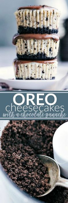 The ultimate BEST EVER miniature oreo cheesecakes with an easy chocolate ganache. via chelseasmessyapron.com