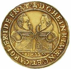 Heinrich Wenzel and Karl Friedrich 1617-1639. threefold ducat 1622. the armored Hüftbilder the Herzöge over one bar face to face, in section...