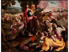 Marten de Vos, 1532 – 1603, zug.  AUSZUG DER ISRAELITEN AUS ÄGYPTEN Öl auf Eichenholz. Parkettiert. 50 x 65 cm. Der Maler hat den biblischen Bericht aus dem Buch Exodus in der Weise...