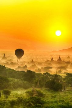 Sunrise in Bagan - By Larry Li# hot air balloon ride over Asia? Ya I gess I would try it:)