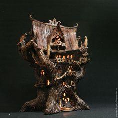 """Купить Эльфийский древо-дворец """"Лориэль"""". Ночник. - дерево, эльфы, сказка, легенда, сказочный домик"""