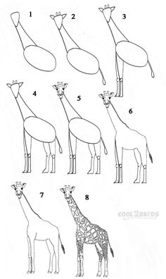 Drawing a giraffe is quite a difficult task, especially for kids. Although, a cartoon giraffe is easier to draw than a realistic one, cartoon drawing is usually Animal Sketches, Animal Drawings, Drawing Sketches, Pencil Drawings, Drawing Animals, Sketching, Drawing Faces, Drawing Topics, Cartoon Giraffe