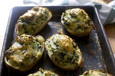 twice-baked potatoes with kale and leeks