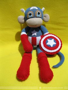 Captain America Sock Monkey- my son will have this one day!!!!!!!! if not, than shoot i'll take it!!! :) :) :) please?!?!?!