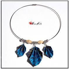 Collier ethnique ras de cou, feuille tropicales pliage origami, * Bleu Argent Vert *, bijoux papier : Collier par sunkris