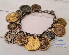 Smashed flattened vintage metal button bracelet necklace pendant jewelry by Sadie Seasongoods