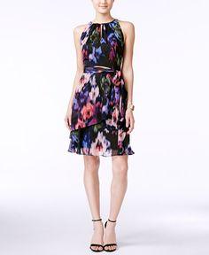 Tahari ASL Floral-Print Keyhole A-Line Dress