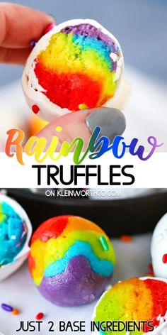 This Rainbow Truffles Recipe is the perfect no-bake treat for rainbow lovers! Made with cake mix & cream cheese, they're easy & so tasty too! Make them for parties, St. Patrick's Day & more. Frozen Desserts, Holiday Desserts, Easy Desserts, Holiday Recipes, Holiday Ideas, Easy Delicious Recipes, Best Dessert Recipes, Sweet Recipes, Delicious Desserts