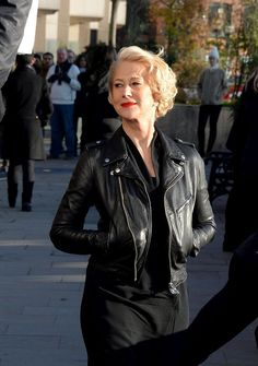 Helen Mirren's leather jacket & words of wisdom! http://www.antigonilivieratou.com/index.php/en/newsen/195-news20150401-en2 photo from mirror.co.uk