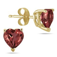 6mm Heart-Shaped Garnet Stud Earrings, 14K Yellow Gold