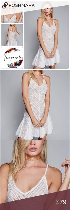 Free people slip dress ivory XS Lovely sheer slip featuring a V-neckline and cute flared bottom with contrast detailing. Stretchy fabrication. Adjustable straps for an easy fit. 🌷 very pretty and flattering feminine figure hugger ✨ Free People Dresses
