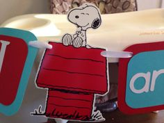 Snoopy I am 1 highchair banner/ Snoopy birthday I by LovelyLetterz, $15.00