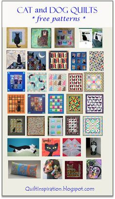 NEW at Quilt Inspiration: Free pattern day: Cat and Dog quilts!