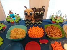 Puppy dog pals birthday party! Dog bowls were from the