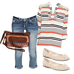 A little leg roll and a striped top = weekend perfection! #Trends #Stripes #MyGordmansStyle