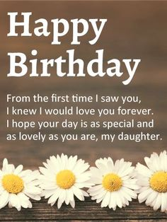 Send Free Lovely Daisy Happy Birthday Wishes Card for Daughter to Loved Ones on Birthday & Greeting Cards by Davia. It's free, and you also can use your own customized birthday calendar and birthday reminders. Happy Birthday Wishes Cards, Birthday Card Sayings, Birthday Blessings, Happy Birthday Images, Happy Birthday Quotes For Daughter, Birthday Wishes For Daughter, Husband Birthday, Birthday Posts, Birthday Love
