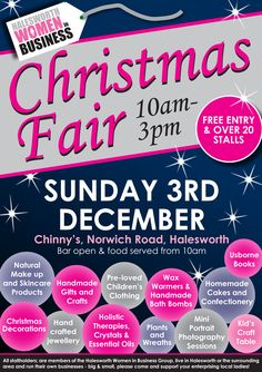 Date For Your Diary: Sunday 3 December 2017. 'Halesworth Women in Business' Christmas Fair. 10 - 3pm. Chinny's Sports Bar, Halesworth. Woohoo!!! I'll be there again this year selling lots of lovely goodies :D xxx