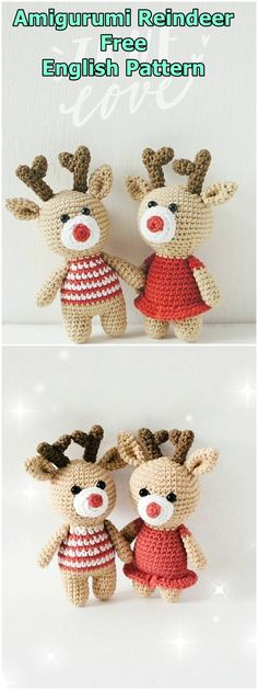 Amigurumi reindeer free crochet pattern, This article is waiting for you. We always keep you up to date with the most current amigurumi toy patterns. Crochet Dolls Free Patterns, Amigurumi Patterns, Crochet Toys, Free Crochet, Crochet Animals, Knitting Patterns, Crochet Christmas Hats, Christmas Crochet Patterns, Amigurumi Animals