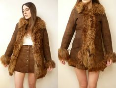 1970s Vintage Afghan Style Penny Lane Sheepskin Shearling Jacket Coat Size XS  Great Almost famous style coat. Its made from a really thick bulky
