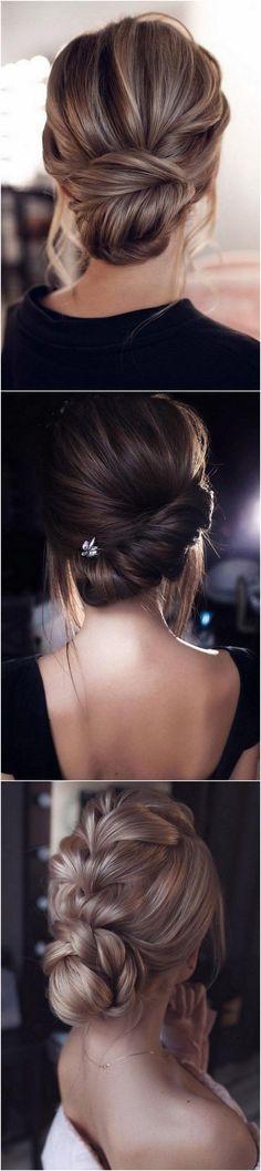 elegant low bun updo wedding hairstyles 1 by meghan