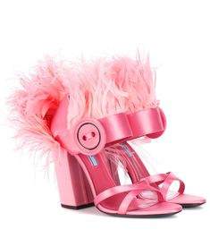 Prada Feather-trimmed Satin Sandals In Geraeio Pink Sandals, Suede Sandals, Pink Shoes, Leather Ankle Boots, Shoes Sandals, Heels, Lace Ballet Flats, Jimmy Choo Romy, Satin Shoes