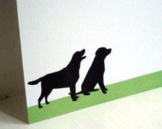 Laboratorio nero personalizzato cancelleria - note di ringraziamento - Labrador Retriever nota carte - cane Silhouette - Set di 10