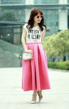Choies Women s Pleated Midi Skirt at Amazon Women s Clothing store  Skirt  Fashion, Fashion Outfits 38619275f7