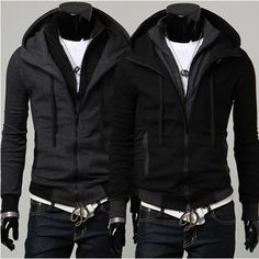 Fashion Korea black Men's winter Jacket Hoodie men's Jacket men's ...
