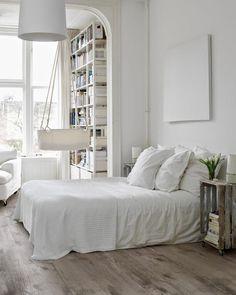 scandinavian style bedroom interior ideas bedroom design photo Photo of Scandinavian Bedroom Interior Design All White Bedroom, White Rooms, White Bedding, White Walls, White Linens, White Sheets, Linen Sheets, Blue Walls, Bed Linen