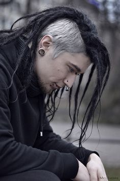 photo by Mel Ivoire (guys, long hair, goth dreads, stretched lobes)