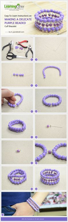 Easy-To-Learn Instructions on Making a Delicate Purple Beaded Cuff Bracelet