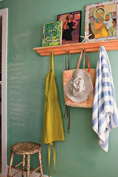 Green chalkboard paint + some white chalkboard paint = this colour.