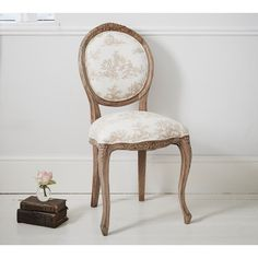 Chateauneuf Toile Chair | French Upholstered Chair by The French Bedroom Company will look great in a shabby chic setting or even as an accent piece in a more formal room.