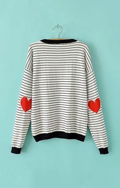 Nautical sweater with heart patch.